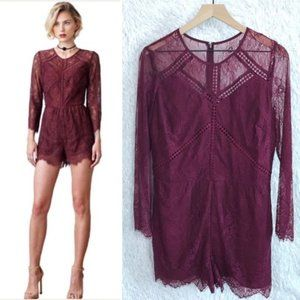 Revolve Greylin Lace Romper Red